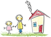 child's drawing of parent and child standing by a little house with smoke coming out the chimmney