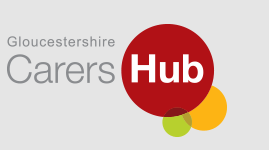 three coloured circles, red, orange and green with title Gloucestershire Carers Hub